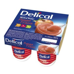 Delical nutra'pote pomme saveur fraise 4 x 200g