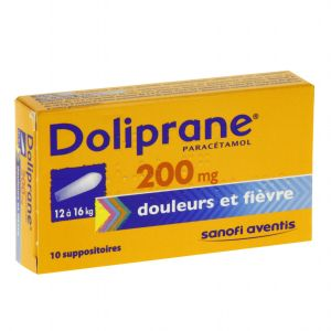 DOLIPRANE 200 mg (paracétamol) suppositoires B/10