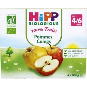 100 % Fruits, coupelles Pommes Coings BIO - 4 x 100g