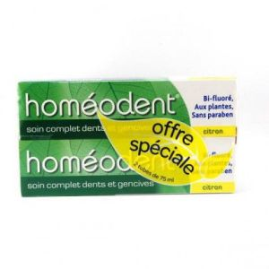 HOMEODENT SOIN COMPLET DENTS ET GENCIVES Citron 2 tubes Pâte Dentifrice 75ML