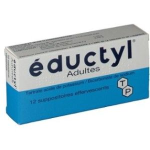 EDUCTYL Adulte (tartrate acide de postassium bicarbonate de sodium) suppositoires effervescents B/12