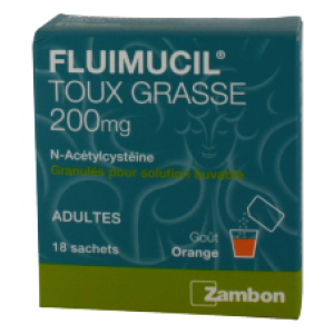 FLUIMUCIL EXPECTORANT ACETYLCYSTEINE 200 mg ADULTES granulés pour solution buvable en sachet B/18