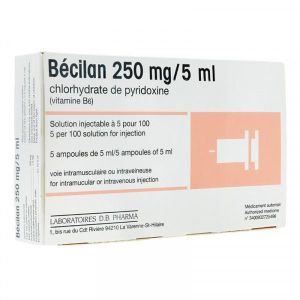 BECILAN 250 mg/5 ml (chlorhydrate de pyridoxine) solution injectable 5 ml en ampoule B/5