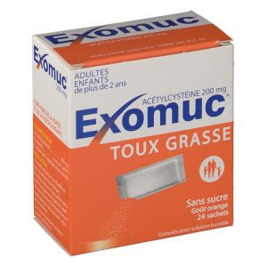 EXOMUC 200 MG GRANULES POUR SOLUTION BUVABLE EN SACHET B/24