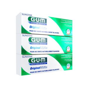 GUM Original White Dentifrice Lot de 3 x 75 ml
